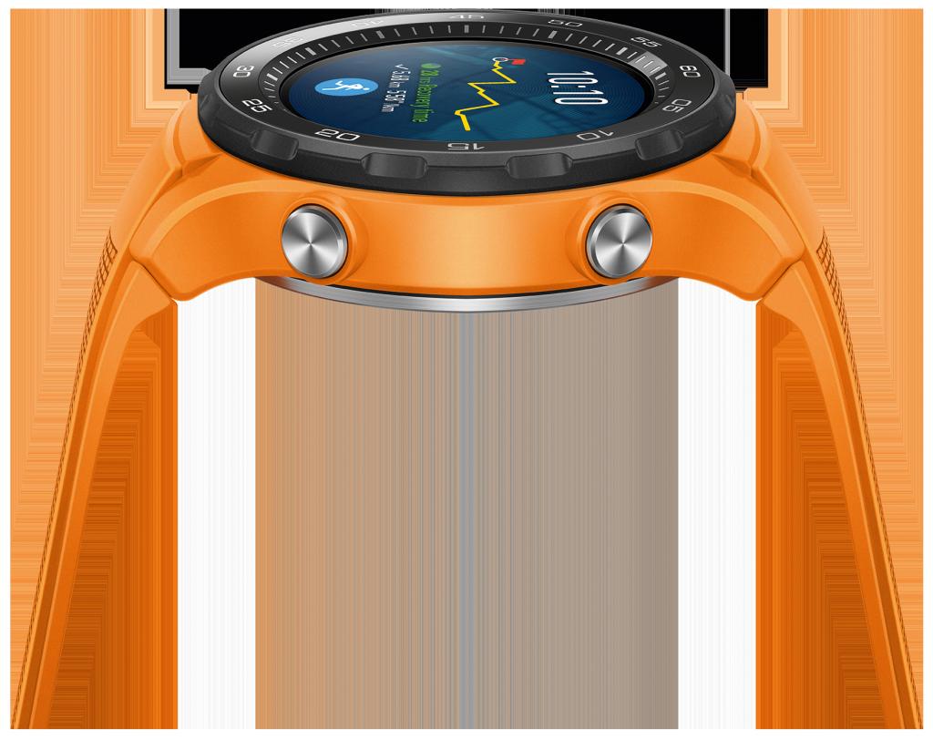 Huawei Watch 2; LTE; Orange; Sportarmband; Smartwatch; Fitnesstracker; Seitenansicht;