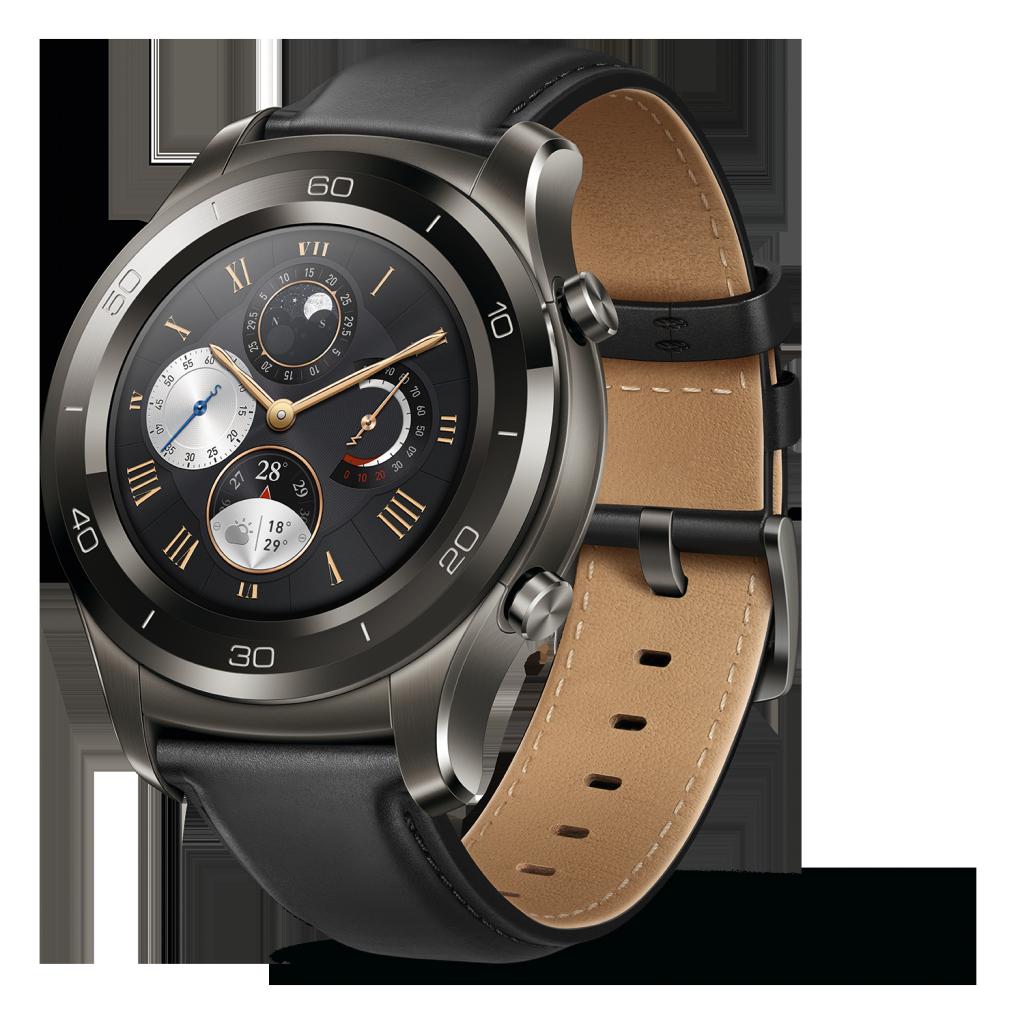 Huawei Watch 2; Premium; schwarz; Lederarmband; Sportuhr; Fitnesstracker; Smartwatch;